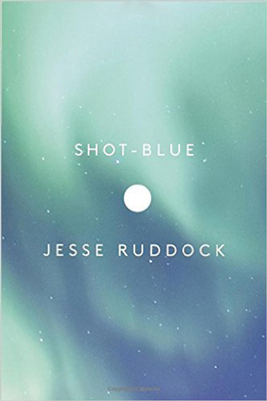 Shot-Blue cover art. Green waves of Northern Lights against a dark blue sky