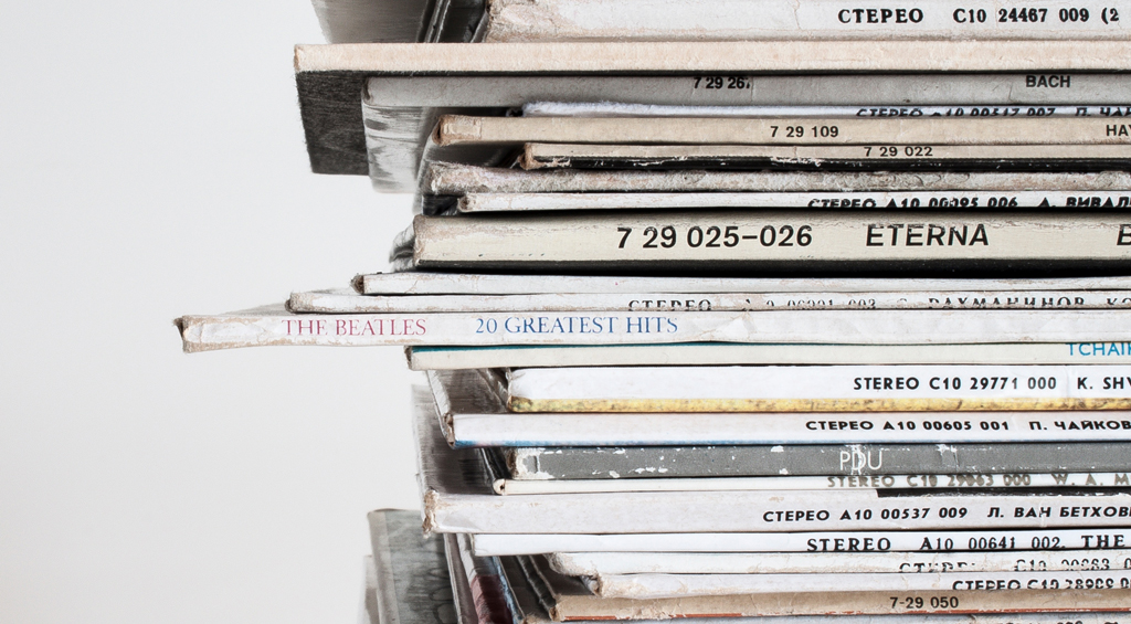 Stack of vinyl records