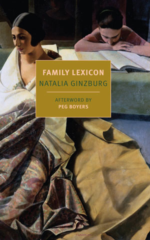 Family Lexicon cover art. A painting of a boy reading a book behind a woman sitting silently
