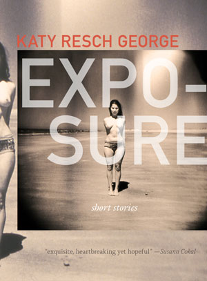 Exposure cover art. A black-and-white photo of a topless woman standing on the beach