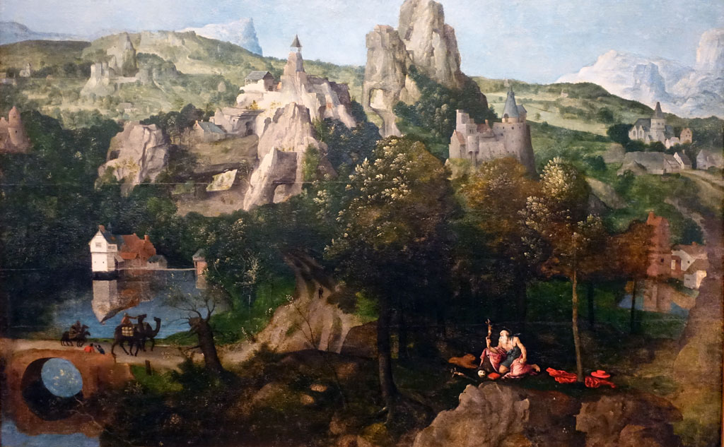 Painting of rocky mountains with small houses and camels walking on a path
