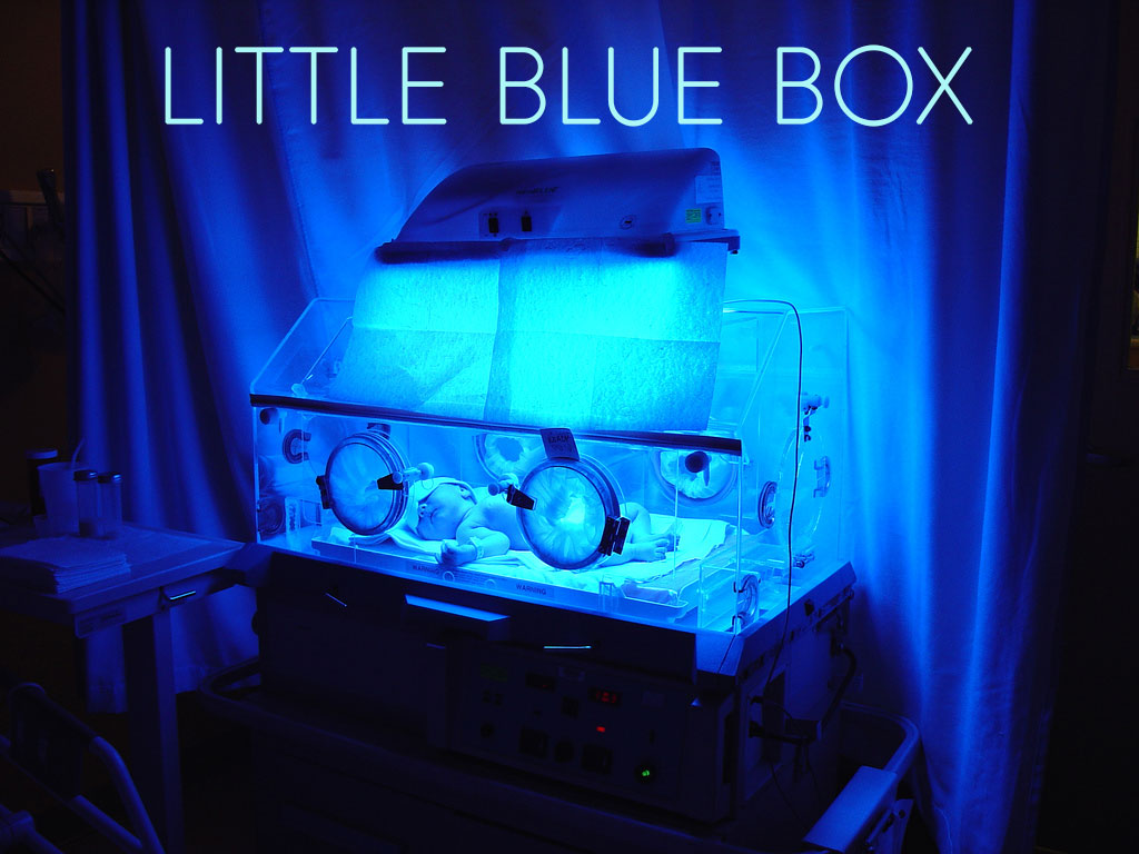 Newborn baby in a small plastic box with wires hooked up to it, in a blue room, with the title of the piece at the top of the image
