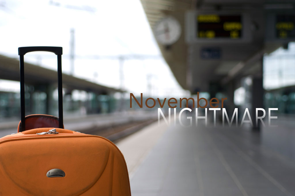 "Orange suitcase in train station with title ""November nightmare"""