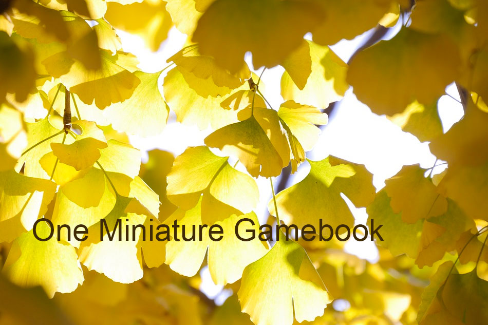 Yellow autumn leaves, with the title of the piece in the bottom left corner