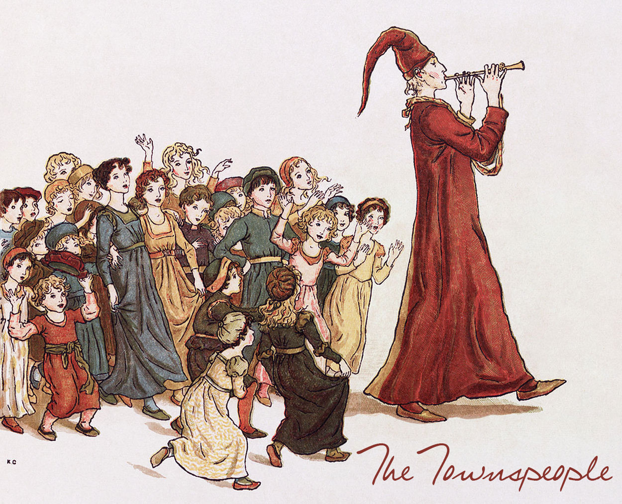 Illustration by Kate Greenaway, from The Pied Piper of Hamelin by Robert Browning (1910)