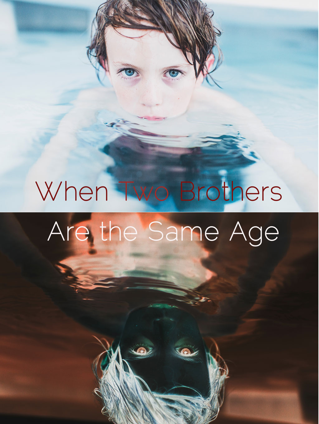 Boy swimming in pool, with his blue eyes and wet hair just above the water line. A negative double of the image is beneath it, with the title of the piece in the center.