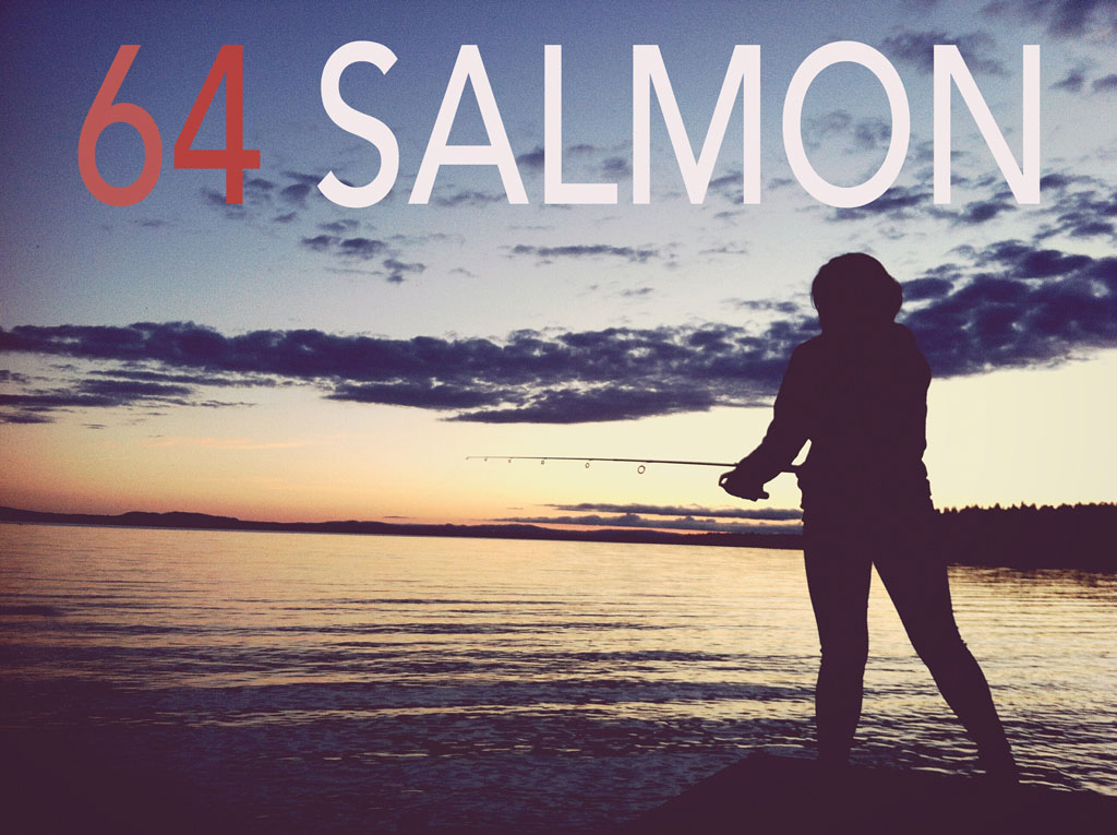 "Fisherman at sunset with title ""64 Salmon'"