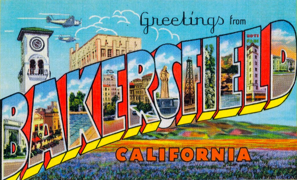 "Vintage postcard reading ""Greetings from Bakersfield California"""