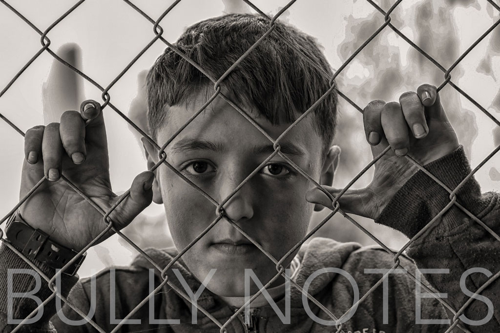 "Boy staring from chain-link fence with title ""Bully Notes"""