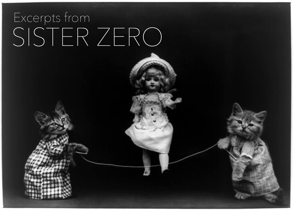 Two kittens wearing dresses holding a jump rope that a baby doll is jumping over, with the title of the piece in the upper left corner
