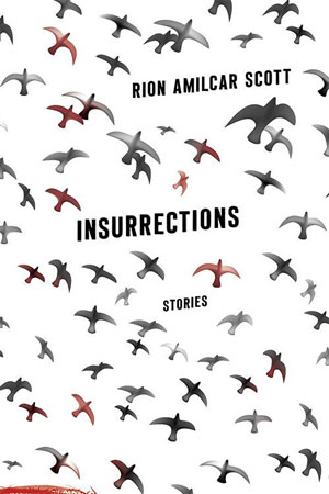 Insurrections cover art. A flock of red, white, and black birds