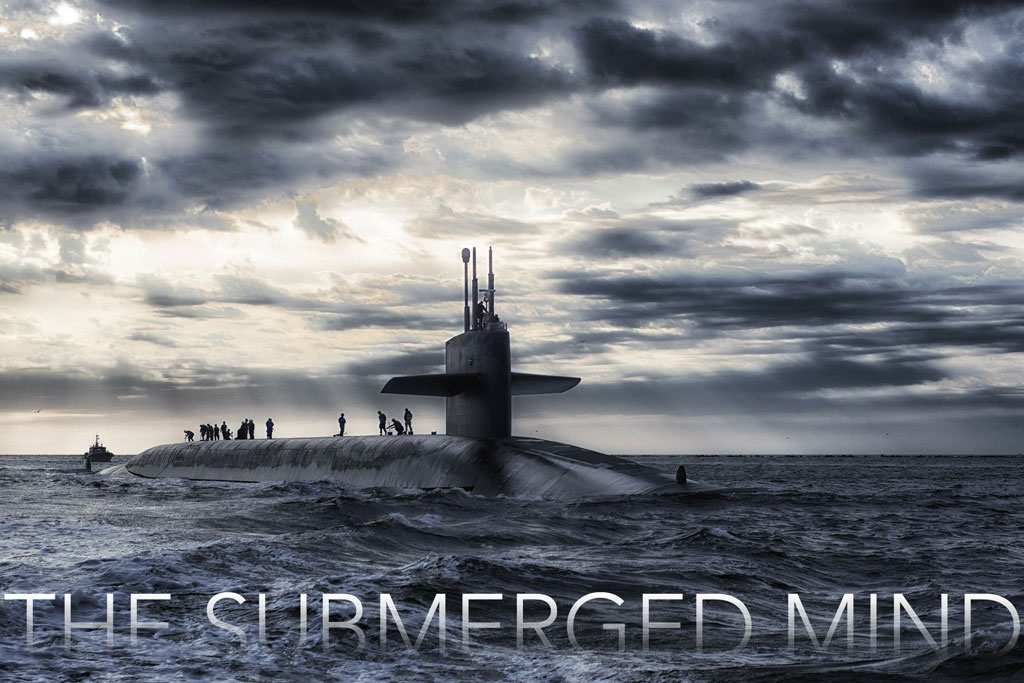 "submarine in stormy ocean with title ""the submerged mind'"