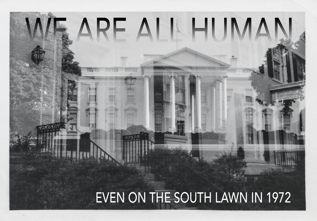 Overlayed image of the White House's South Lawn, with the title of the piece faded into the top of the image