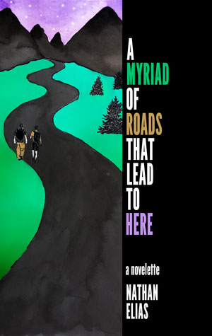 A Myriad of Roads That Lead to Here cover art. Artwork of two men walking on a path that leads to mountains under a purple sky