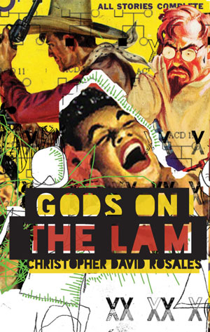 Gods on the Lam cover art. Clippings of human faces against a yellow background