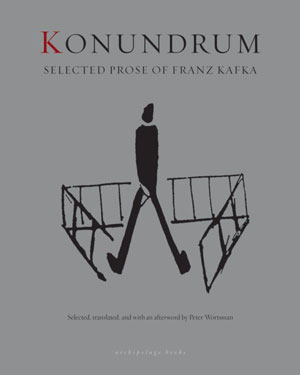 Konundrum cover art. A drawing of a man suspended between two ladders bent into 90-degree shapes