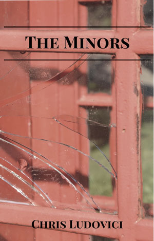 The Minors cover photo. A cracked glass window in front of a red door