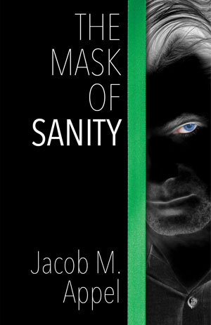 The Mask of Sanity cover art. A dark photo of a man with a piercing blue eye