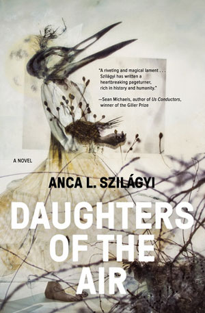 Daughters of the Air cover art. An abstract drawing of a creature in a dress with a bird's head and beak