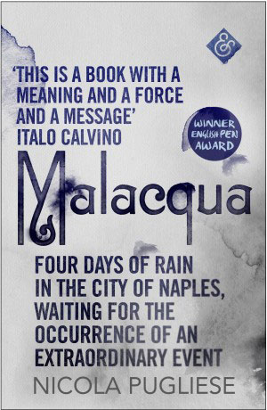 Malacqua cover art. Dark blue text against a white background