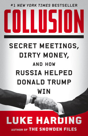 Collusion book jacket; two men shaking hands