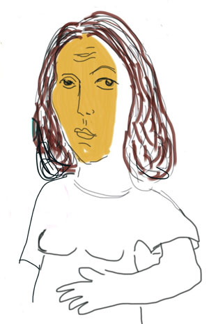Sketch of woman with brown hair and face that's painted yellow