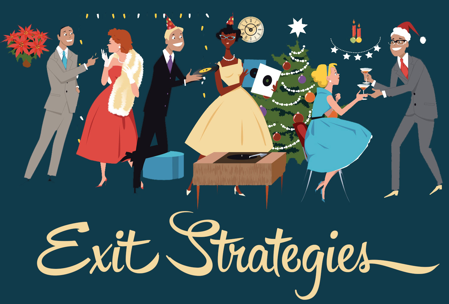 "vintage holiday party with title ""exit strategies"""