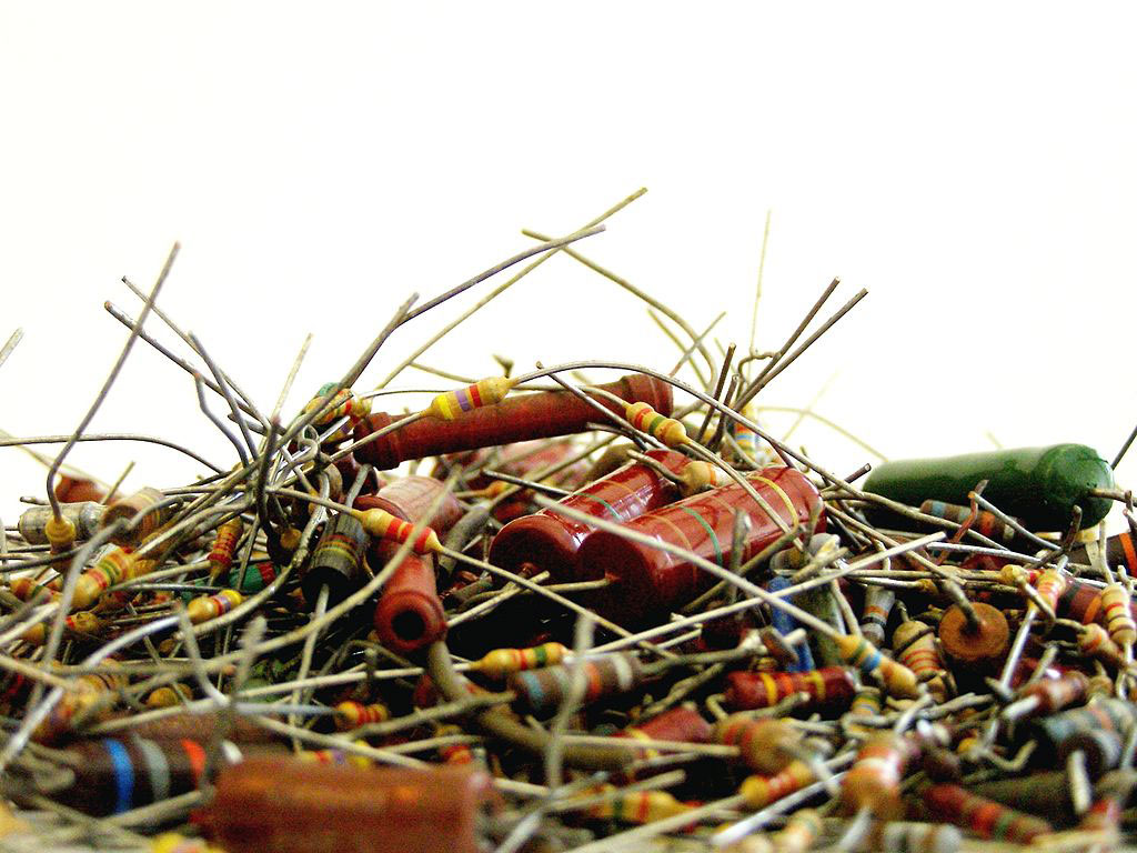 Pile of broken electrical resistors