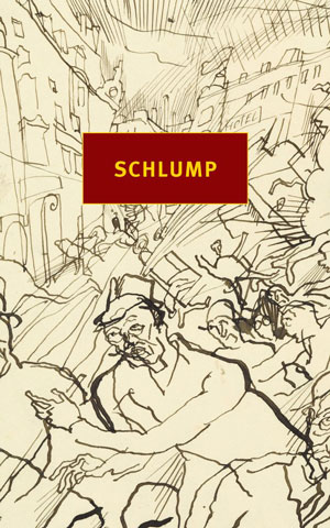 Schlump cover at. An abstract black-and-white drawing of humans and buildings