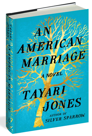 An American Marriage cover art. Black writing against a light blue background with a golden tree