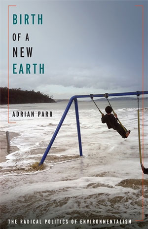 Birth of a New Earth book jacket; on a beach there is a child on a swing set