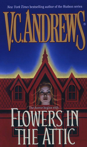 book cover of Flowers in the Attic by V. C. Andrews, dark blue background with red mansion and woman's face in mansion's window