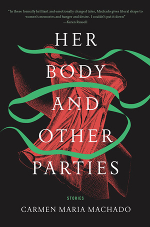 Her Body and Other Parties cover art. A winding green ribbon against an abstract red drawing of a human neck