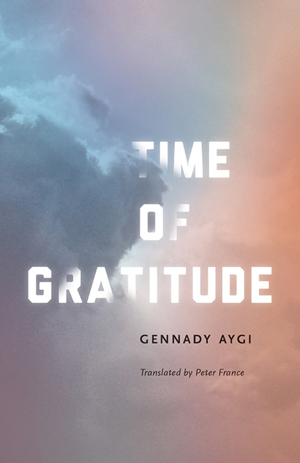 Time of Gratitude book jacket; clouds in the sky at dawn