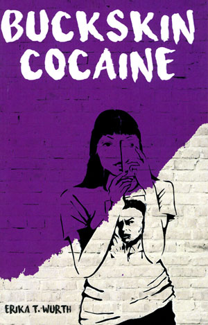 Buckskin Cocaine cover art. A brick wall half purple and half white, behind a drawing of a woman looking at her phone