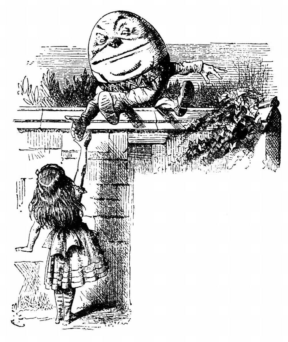 Black and white etching of humpty dumpty and Alice