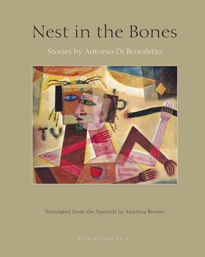 Nest in the Bones cover art. An abstract painting of a red human figure