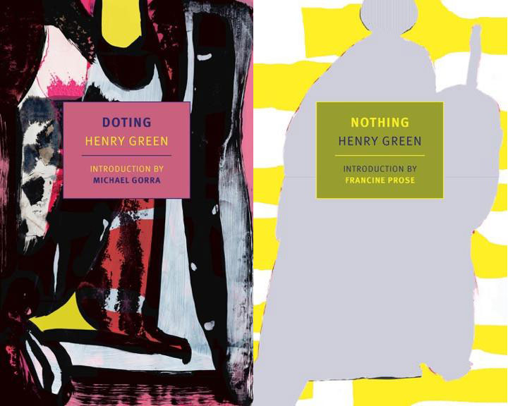 Cover art for Doting and cover art for Nothing. For Doting, an abstract painting with yellows, black, and pinks. For Doting, an amorphous grey shape against a yellow striped background