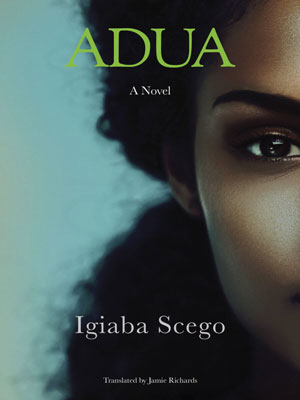 Adua cover art. Half of the face of a dark-skinned woman against a light blue background