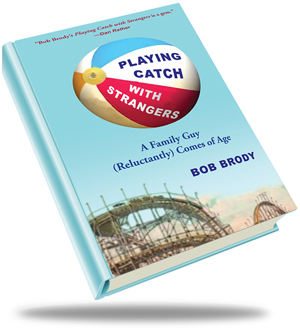 Playing Catch with Strangers book cover; beach ball in the air, rollercoaster track and mountain