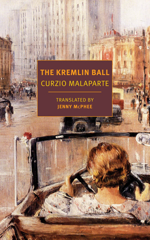 The Kremlin Ball cover art. A painting of a woman driving into the square of a city