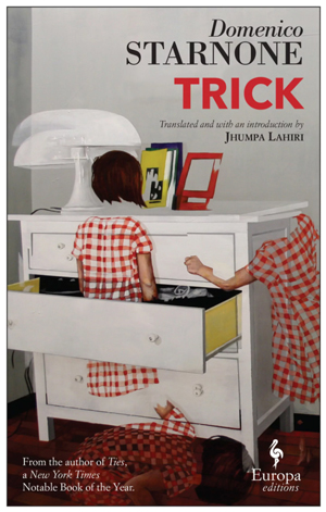 Trick cover art. Abstract art of a girl in a checkered dress standing inside of a white drawer