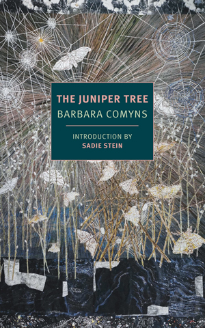 The Juniper Tree cover art. Abstract white butterflies in abstract white trees against a dark blue background