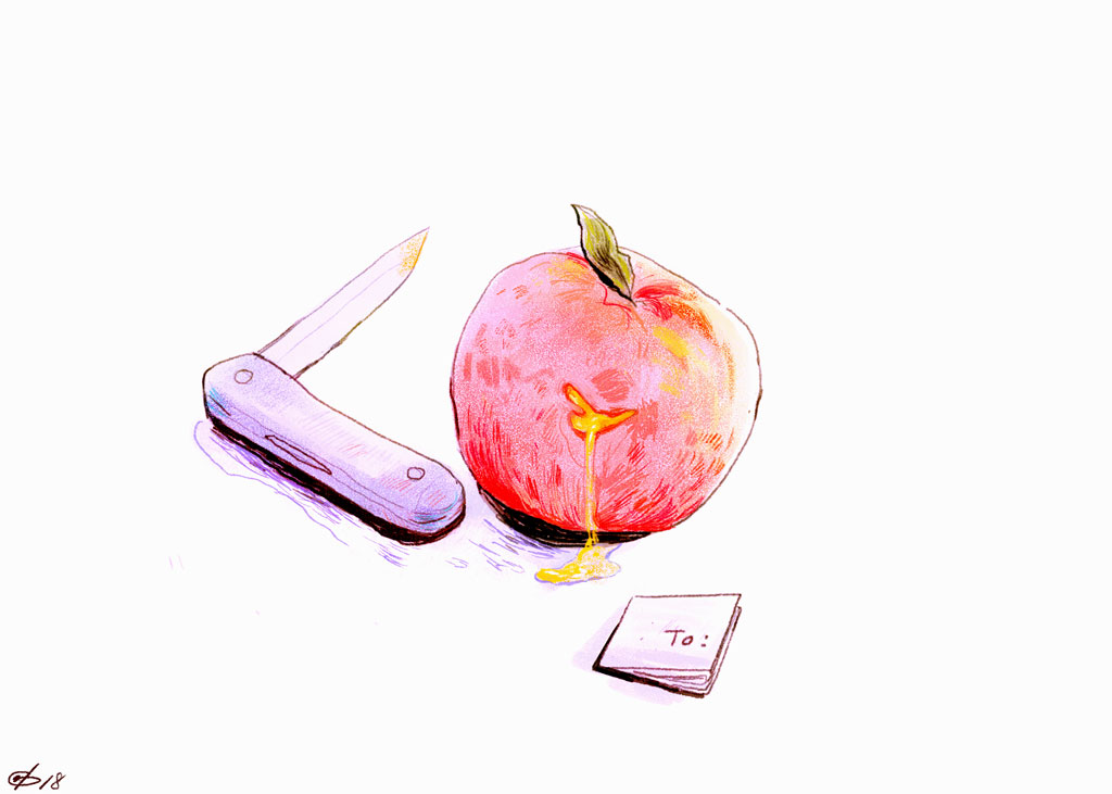 Illustration of pocket knife, apple, and small paper note by Gloria Yuen