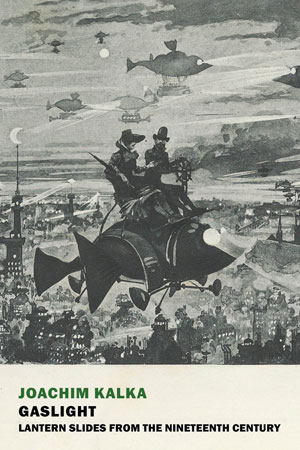 Book jacket for Gaslight; People at night flying over a city skyline on a plane