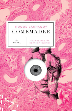 Comemadre cover art. A sketch of a boy touching his eye in front of abstract pink shapes
