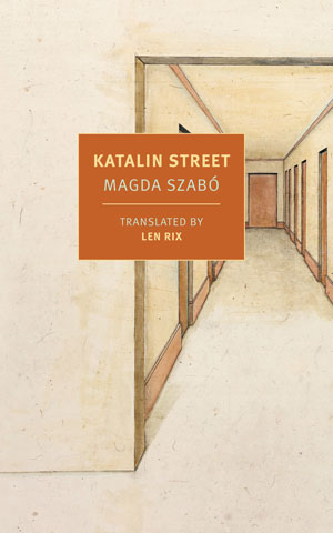 Katalin Street cover art. A view down a white hallway with red doors