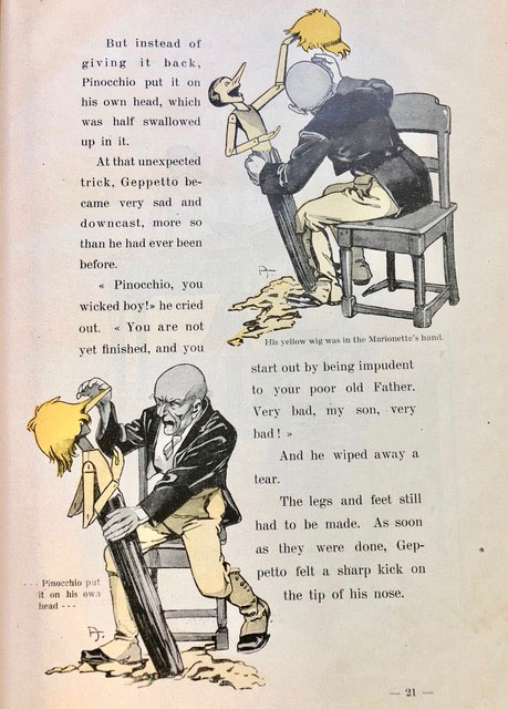 A page from the Adventures of Pinocchio depicting both text and images of a man designing a doll