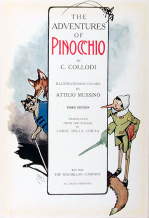 The Adventures of Pinocchio cover art. Pinocchio peeks around a corner at a fox and a cat.