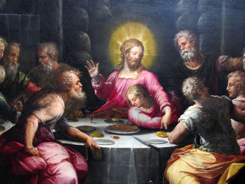 Cropped image of The Last Supper by Giorgio Vasari (1546)